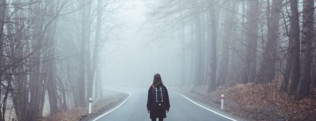 Girl lost in fog